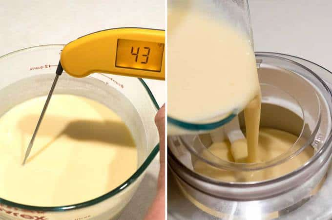 Pouring ice cream into machine