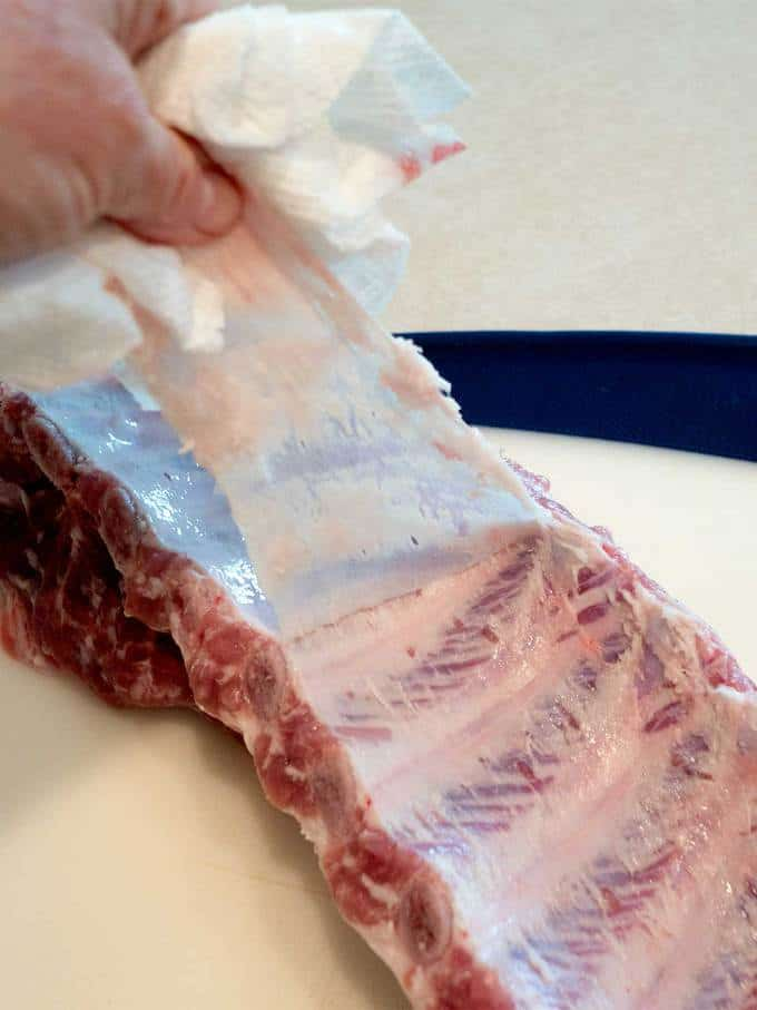 Removing the membrane from the ribs