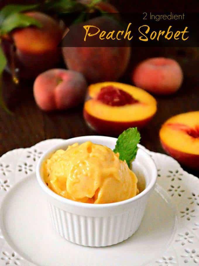 2 Ingredient Peach Sorbet