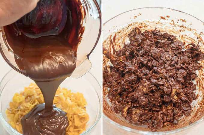 Adding Chocolate to Corn Flake Mixture