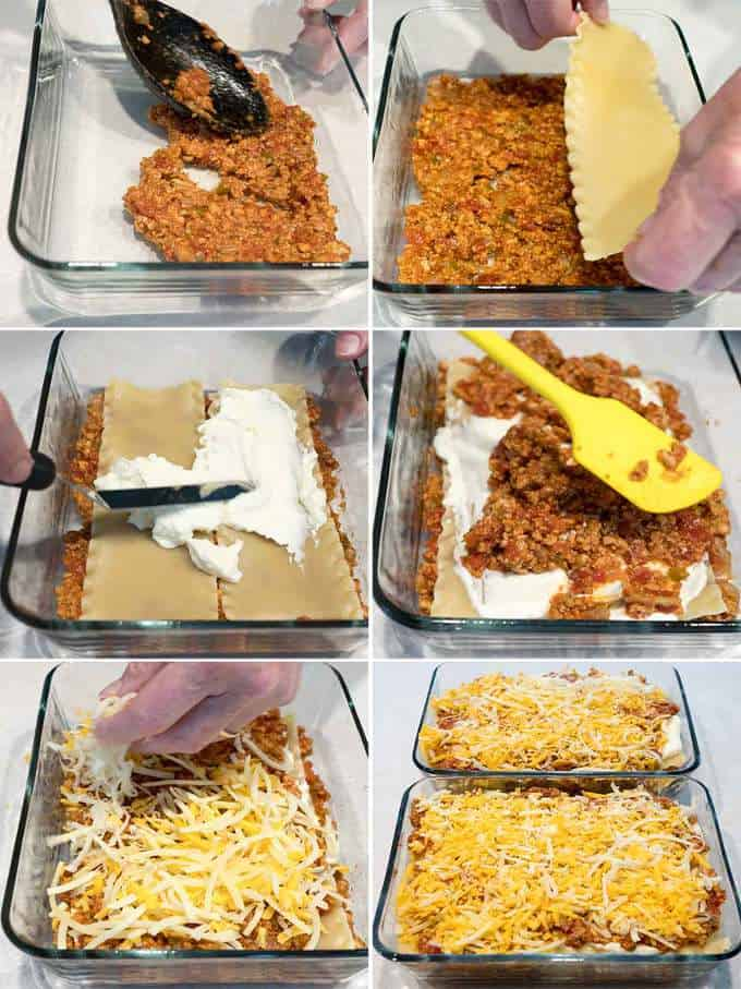 Building the Six Cheese Turkey Lasagnas
