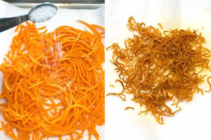 Making the fried carrot string garnish for the Grits a Ya Ya