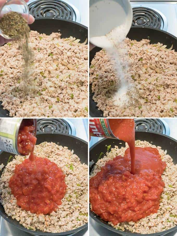 Making the meat sauce for Six Cheese Turkey Lasagna