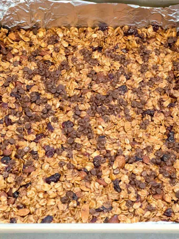 Granola bar mixture in pan