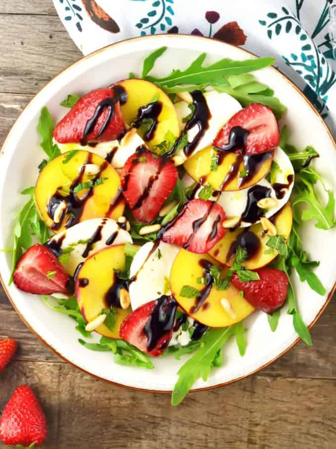 Roasted Strawberries and Peach Caprese Salad