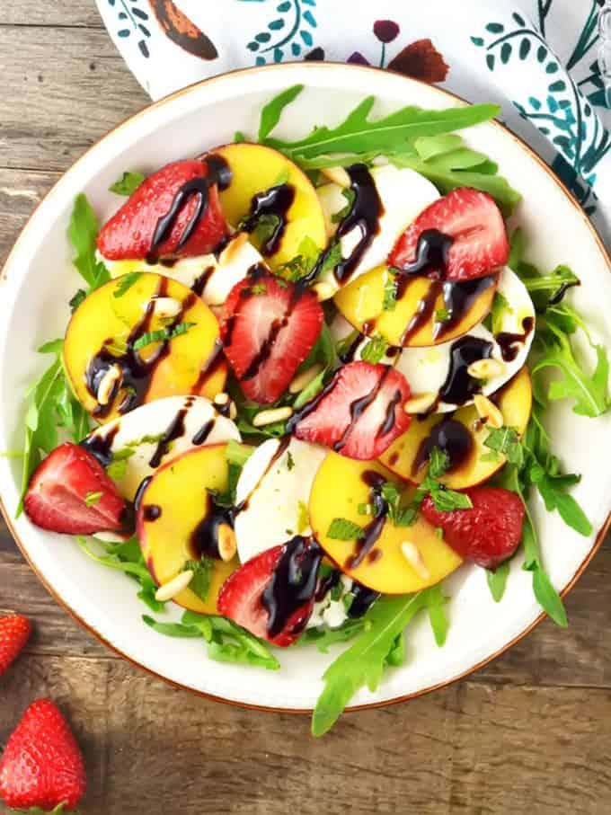 Roasted Strawberries and Peach Caprese Salad