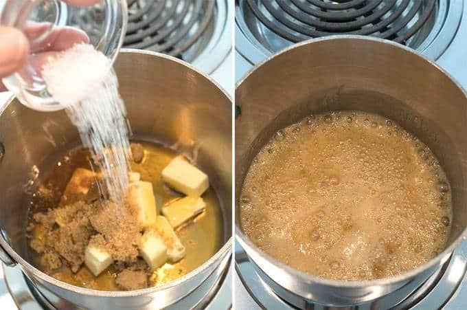 Preparing liquid syrup mixture for granola bars