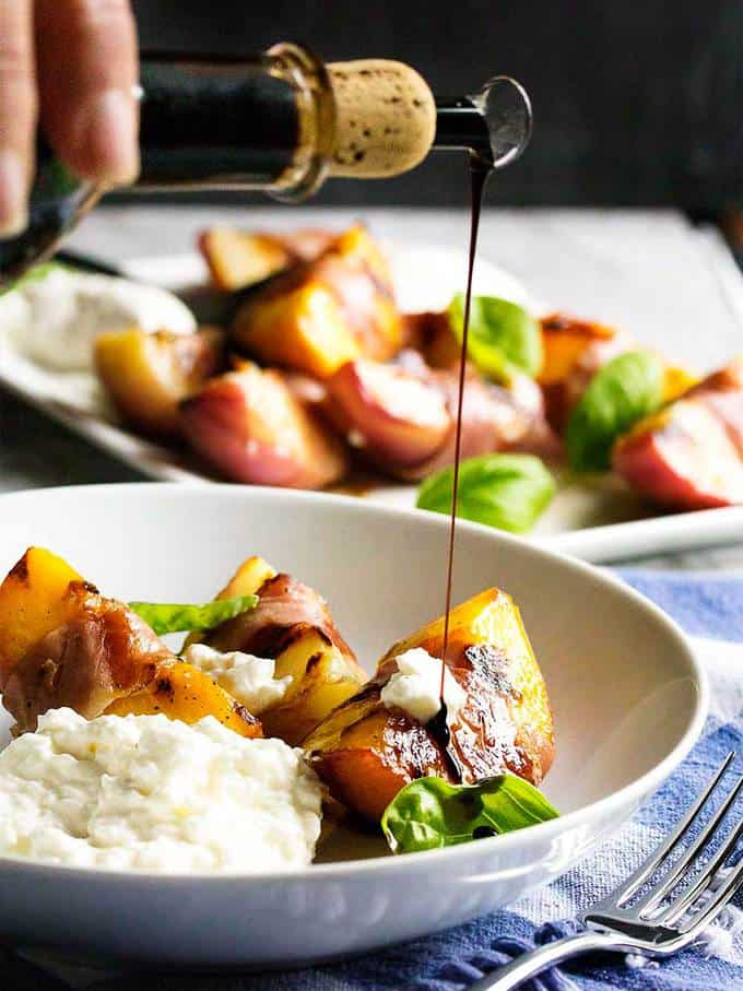 Balsamic Grilled Peaches with Burrata and Prosciutto