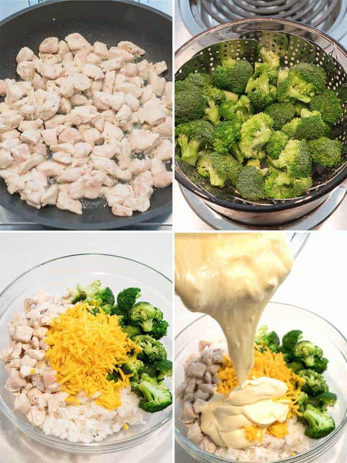 Adding all ingredients for Chicken Rice and Broccoli Casserole