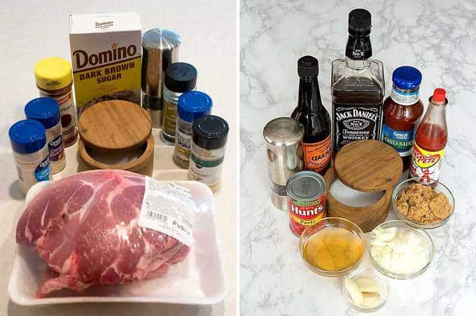 Ingredients for Instant Pot Pulled Pork with Bourbon Infused Barbecue Sauce