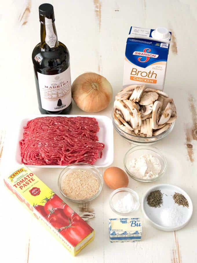 Ingredients for Old Fashioned Salisbury Steak