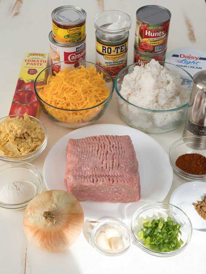Ingredients for Easy Cheesy Nacho Casserole