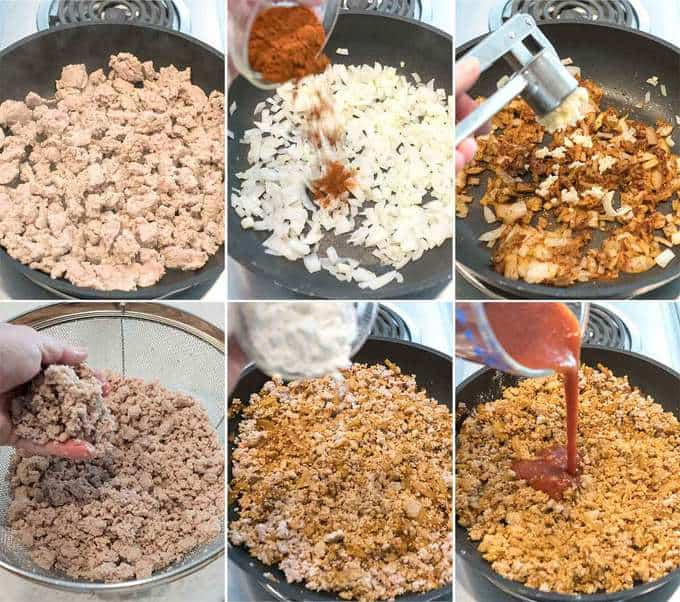 Making the Meat Sauce for Easy Cheesy Nacho Casserole