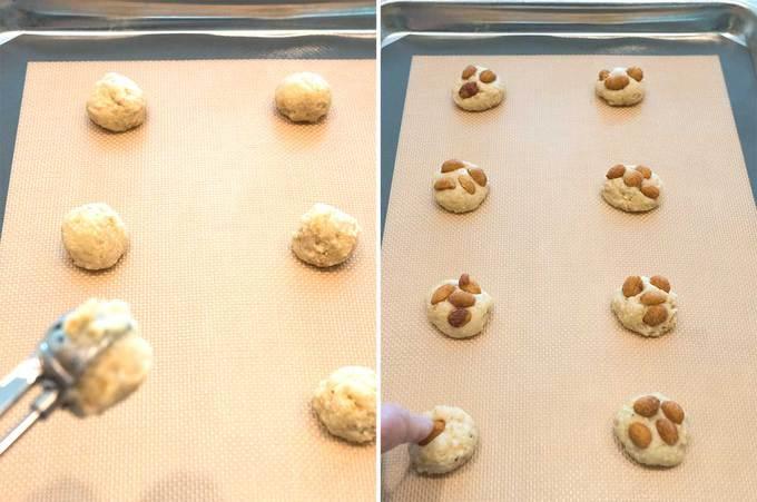 Scooping Dough for Skinny Peanut Cookies