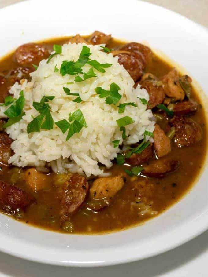 Low Fuss Chicken and Sausage Gumbo