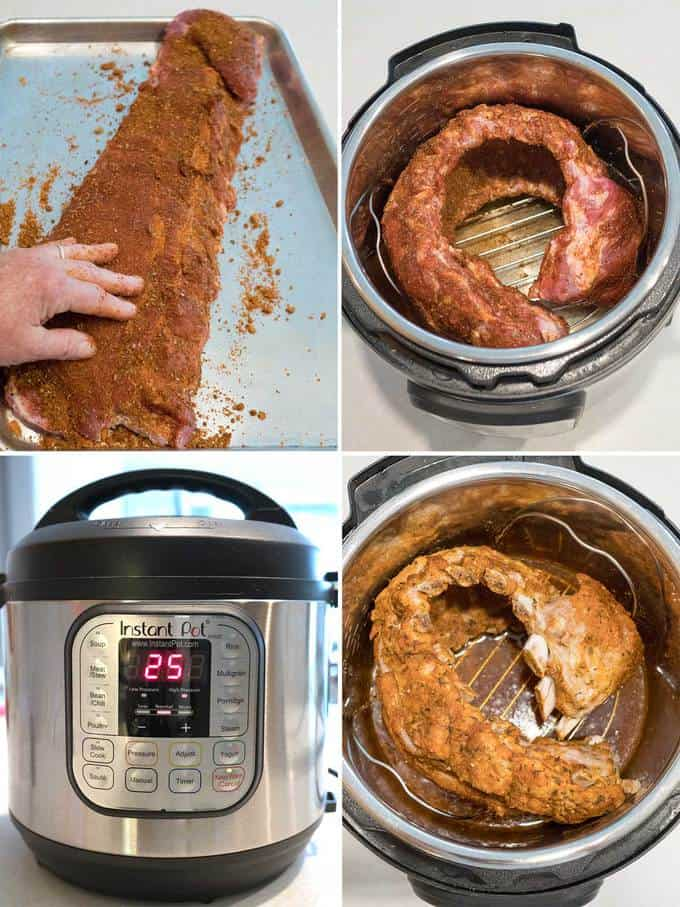 Preparing the ribs in the Instant Pot