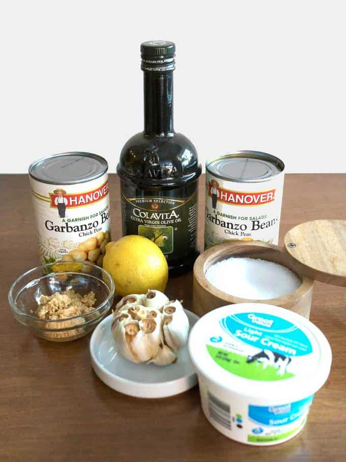 Ingredients for Classic Roasted Garlic Hummus