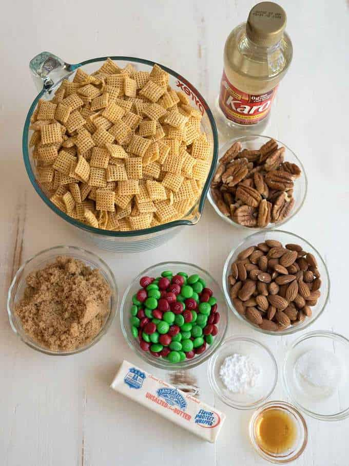 Ingredients for Holiday Caramel Chex Mix