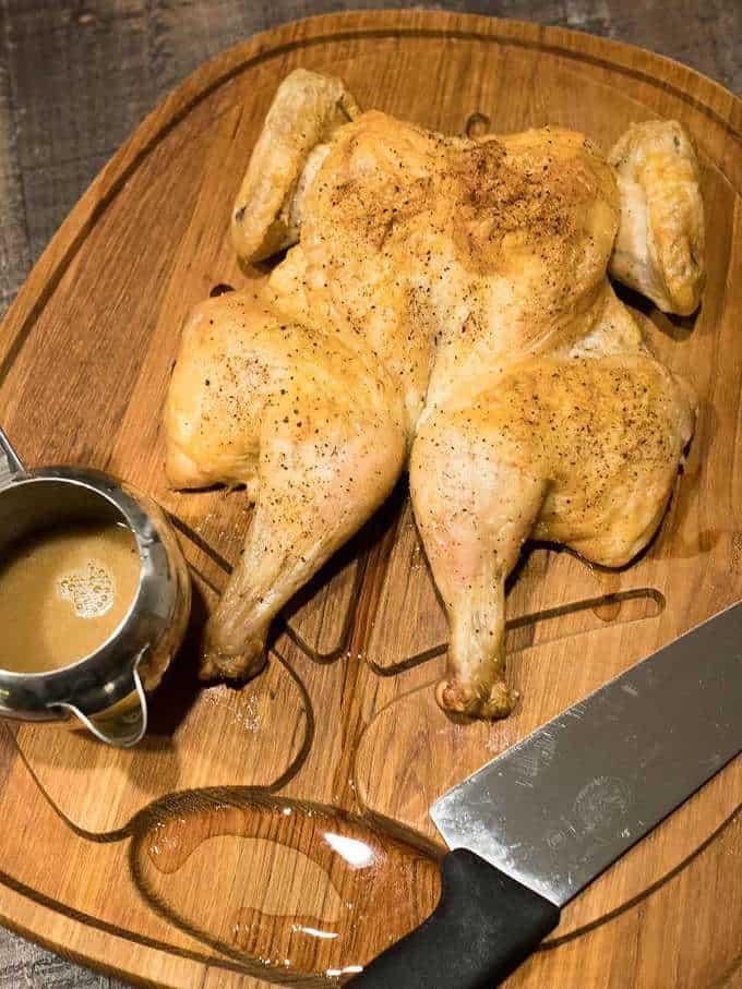 Dry Brined Spatchcock Chicken Au Jus