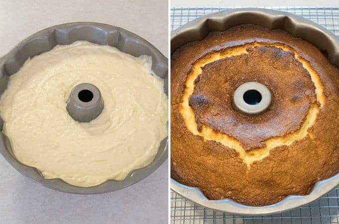 Cake Before and After Being Baked