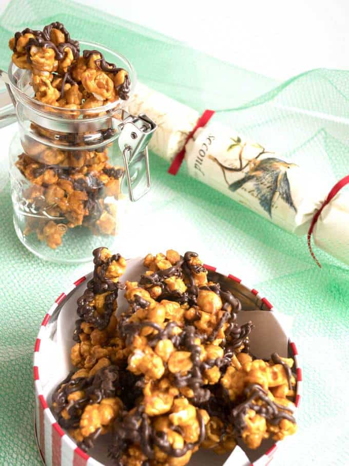Dark Chocolate Drizzled Caramel Corn