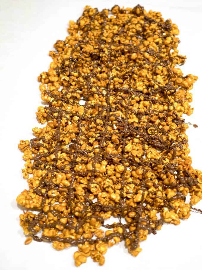 Dark Chocolate Drizzled Caramel Corn