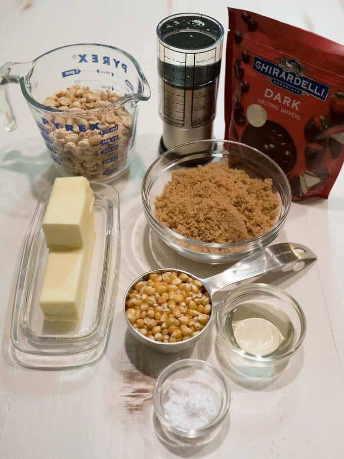 Ingredients for dark chocolate drizzled caramel corn