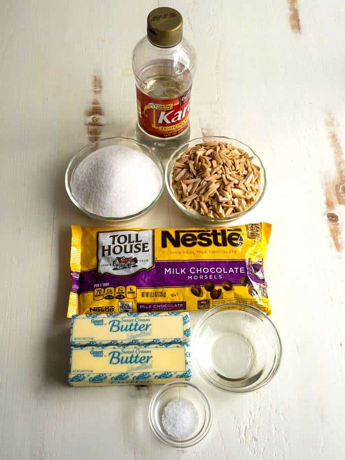 Ingredients for Chocolate Almond Toffee