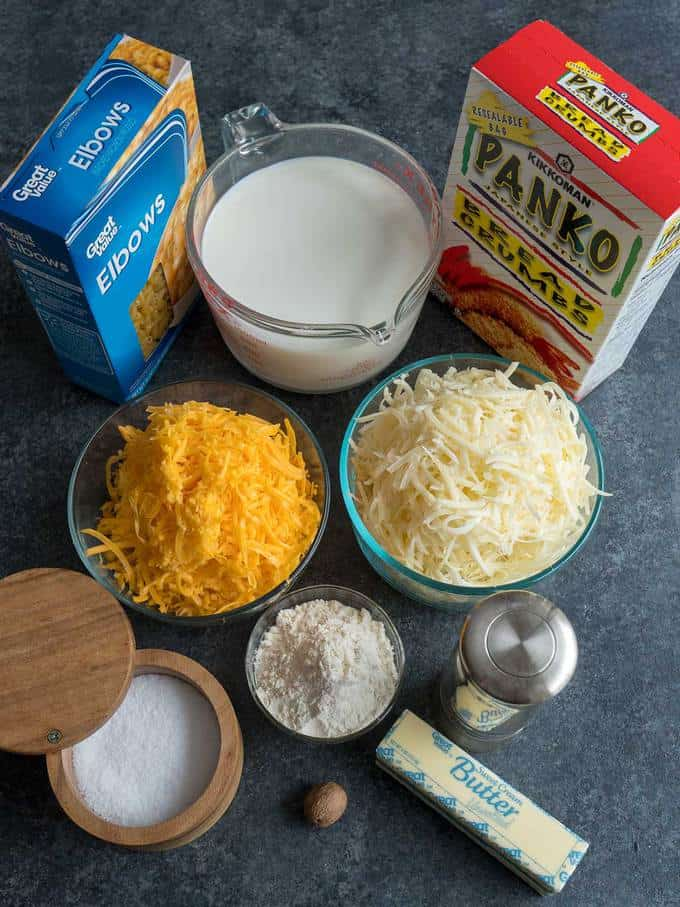 Ingredients for Ultimate Make Ahead Macaroni and Cheese