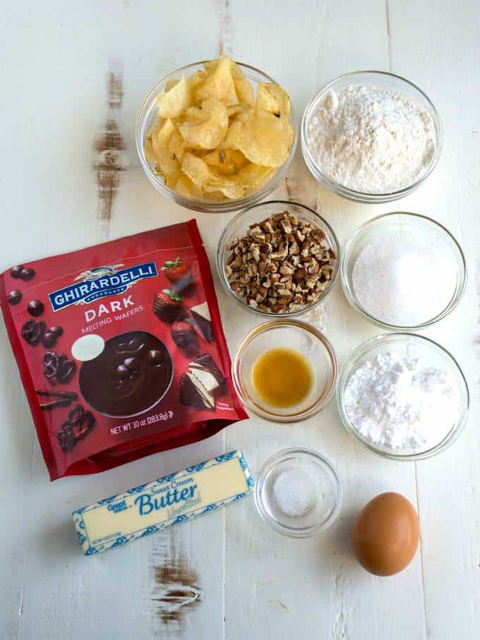 Ingredients for Chocolate Dipped Potato Chip Cookies