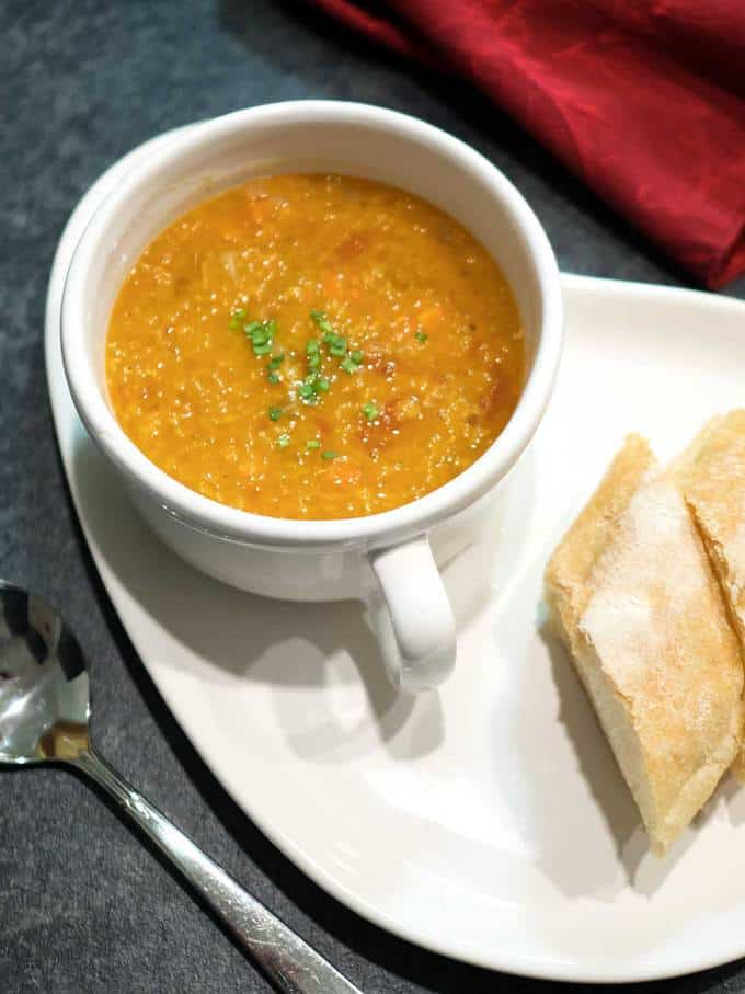 Red Lentil Soup wth Roasted Tomatoes