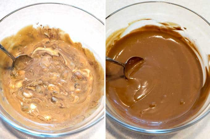 Melting the ingredients for the Chocolate Peanut Butter Meltaways