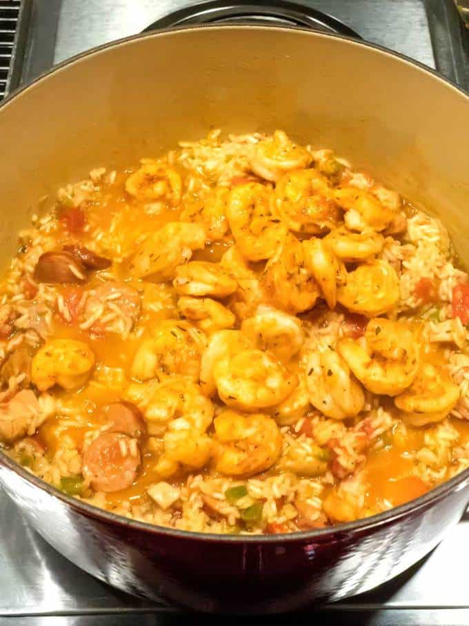 Adding the Shrimp to the Spicy New Orleans Jambalaya