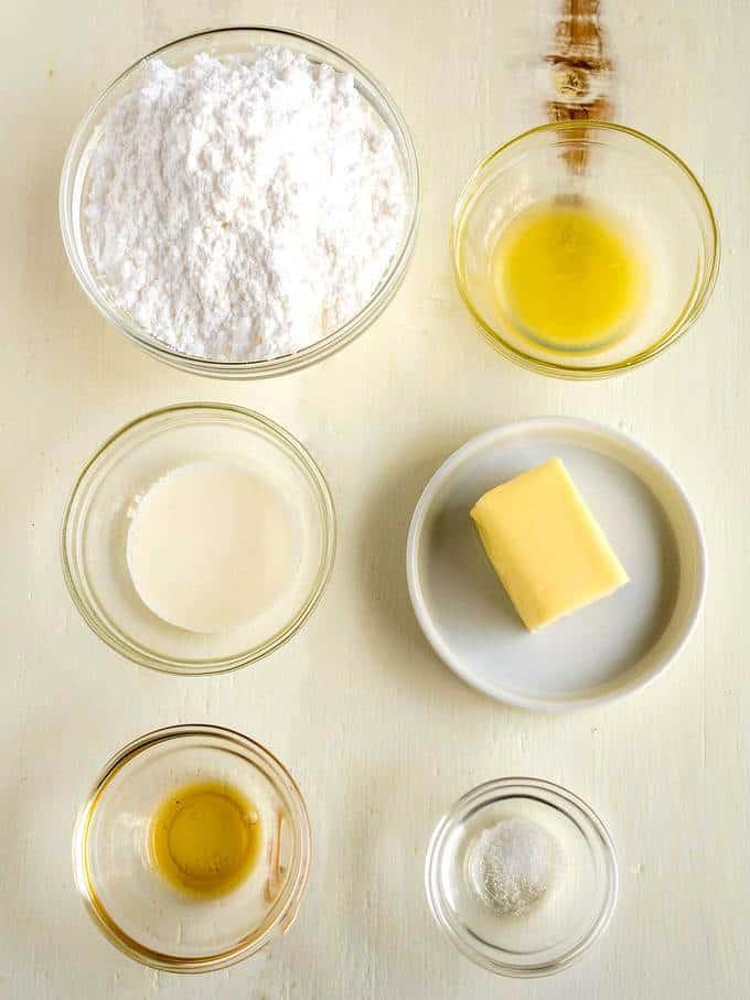 Ingredients for Lemon Buttercream for Mardi Gras Macarons