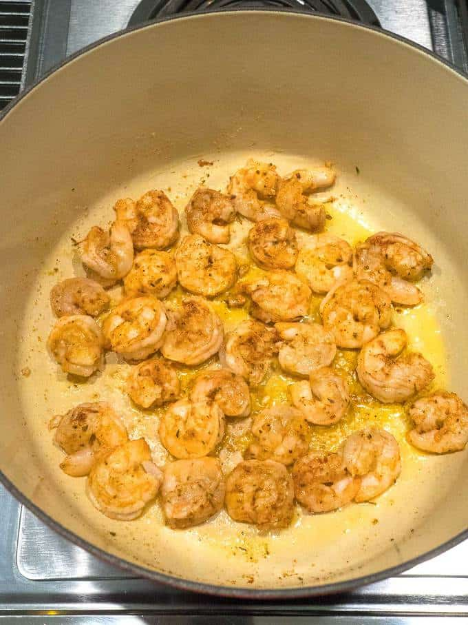 Cooking the Shrimp for the Spicy New Orleans Jambalaya