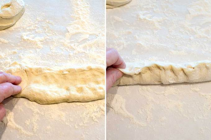 Forming the dough for the New Orleans Po Boy Rolls