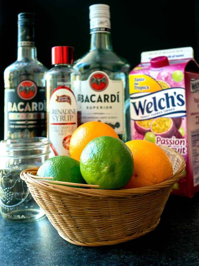 Ingredients for New Orleans Hurricane