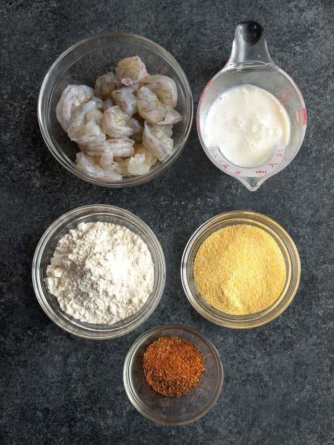 Ingredients for fried shrimp for Shrimp Po 'Boy