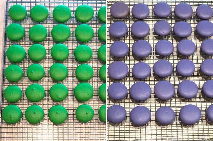 Mardi Gras Macaron Shells Cooling on Wire Rack