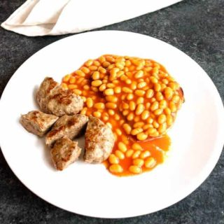British Breakfast Sausage with Beans on Toast