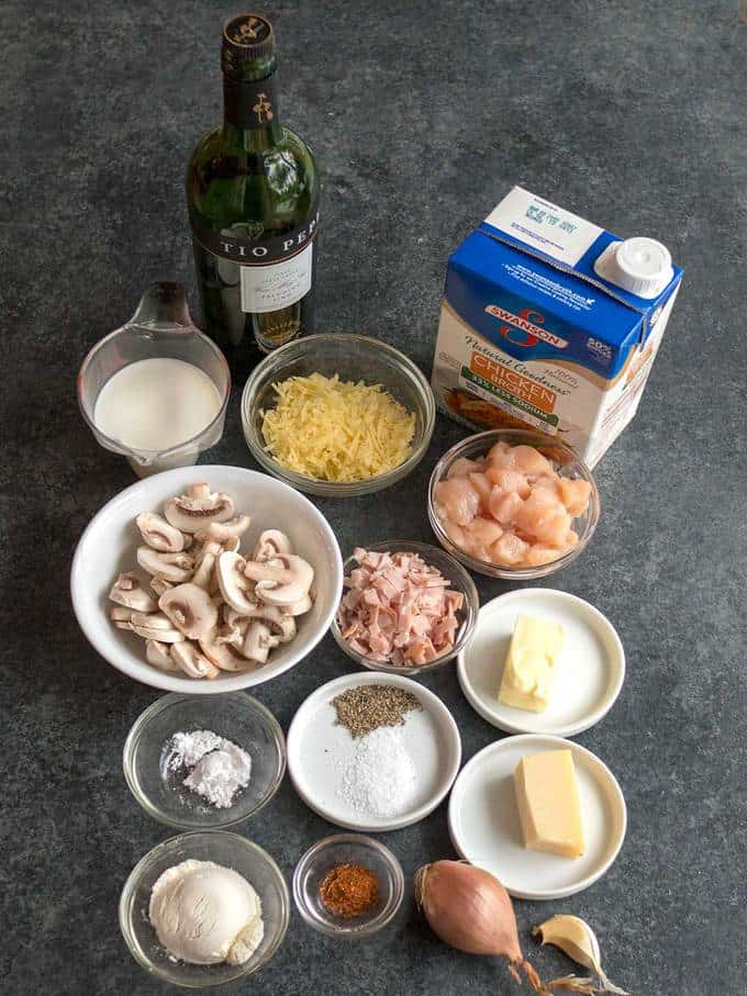 Ingredients for Chicken Cordon Bleu Crepes