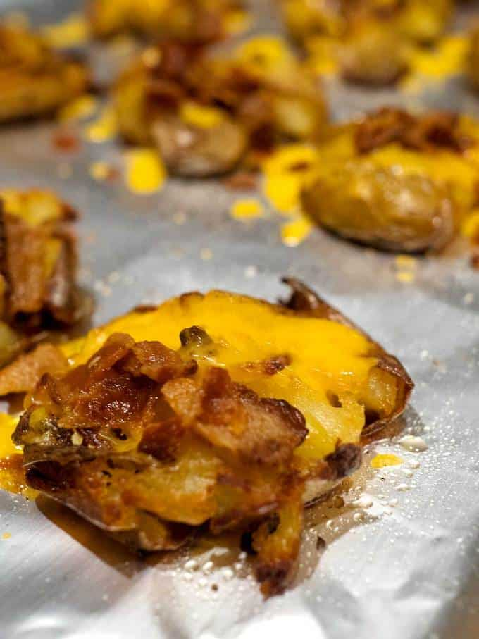 Crispy Loaded Potato Smashers Out of Oven