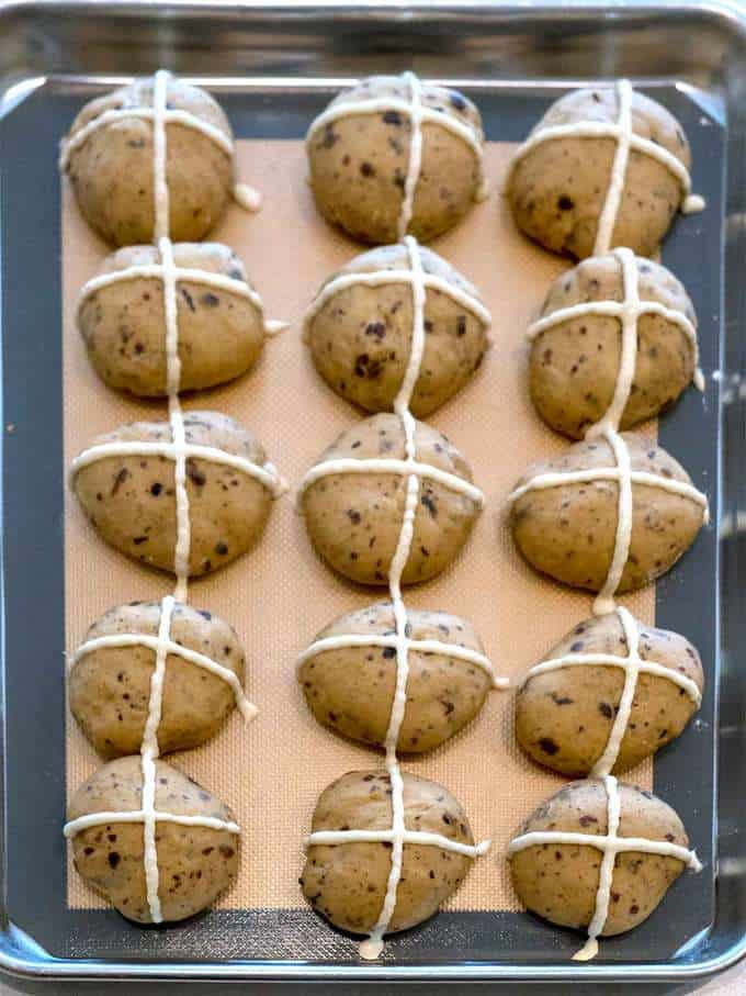 Crosses Piped on Hot Cross Buns