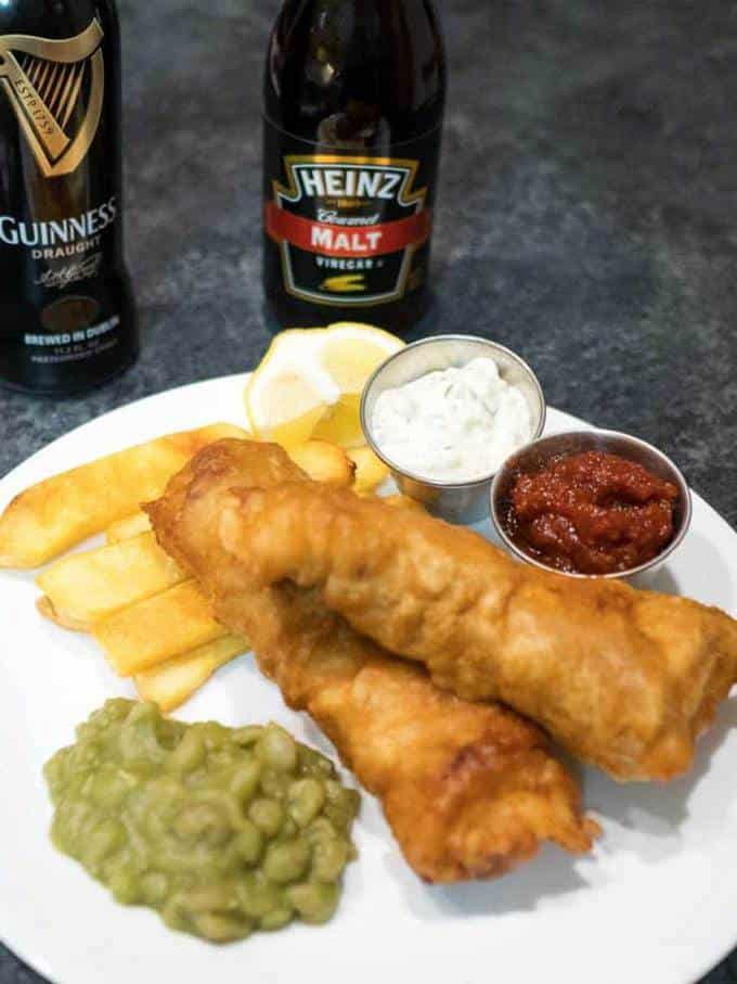 Beer Battered Fish and Chips and Mushy Peas