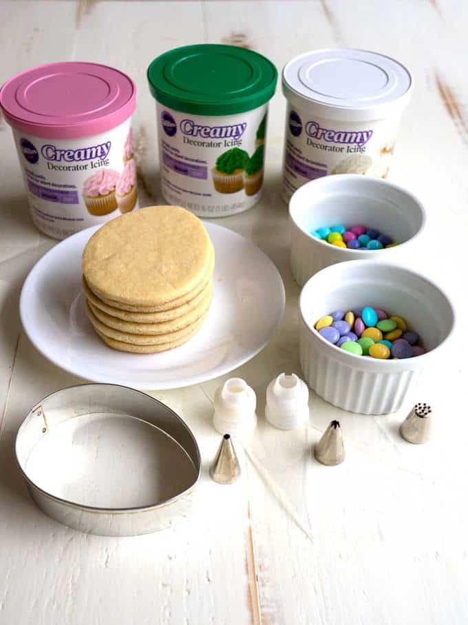 Supplies for making easter basket cookies