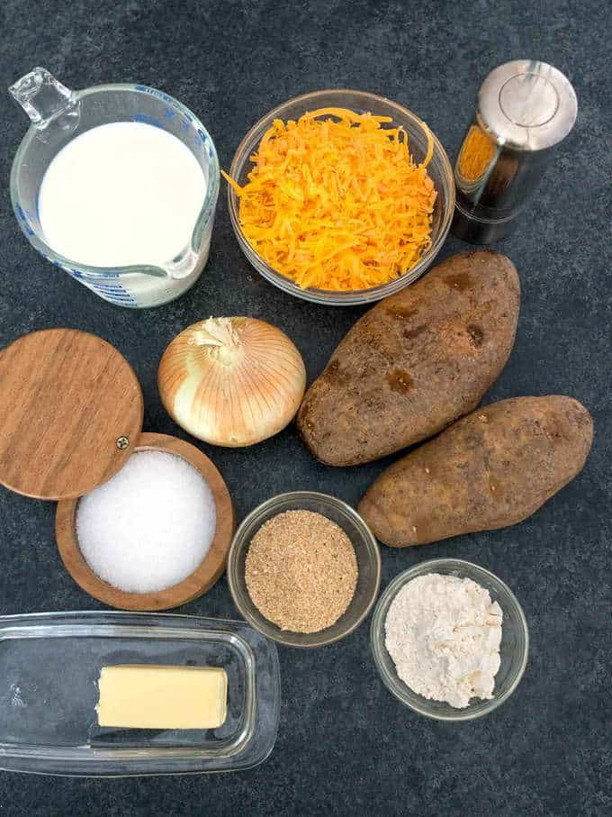 Ingredients for Easy Cheesy Potato and Onion Au Gratin