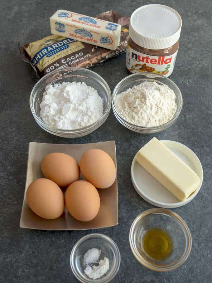 Ingredients for Chocolate Glazed Nutella Mini Cupcakes