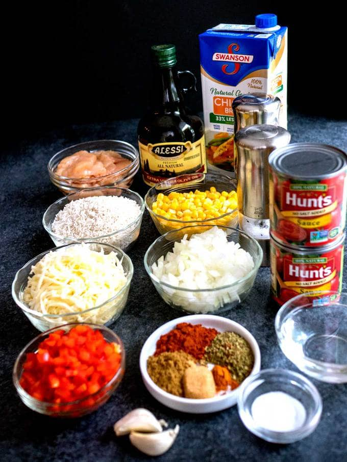 Ingredients for Easy Cheesy Mexican Rice with Chicken