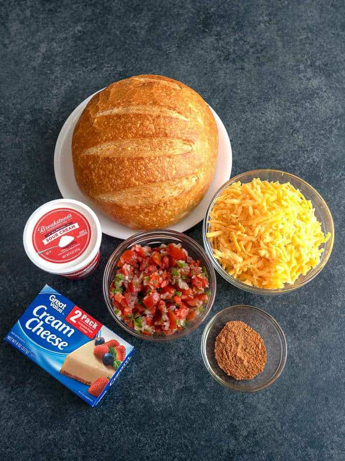 Ingredients for Cheesy Salsa Dip in a Bread Bowl