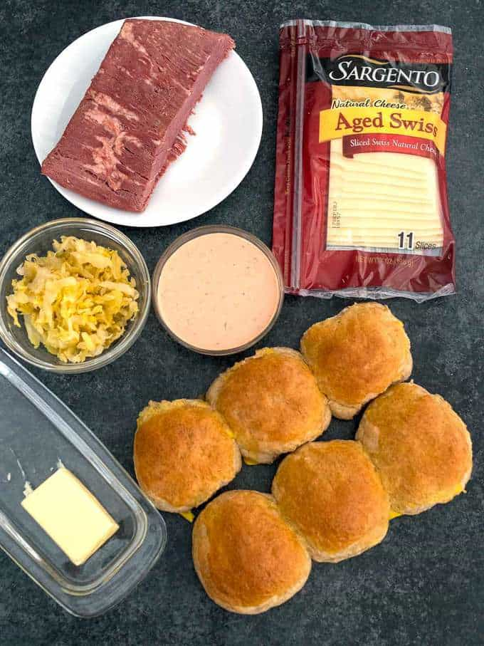 Ingredients for Easy Reuben Sliders